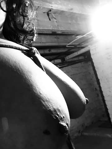 B&W tit pic from 3/4 angle with rope harness